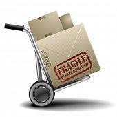 detailed illustration of a handtruck or trolley with cardboxes with fragile label on them, eps 10 ve