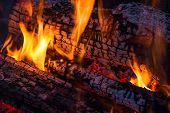 picture of lame  - Colorful lames dance on charred logs in a wood fire - JPG