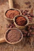 pic of cocoa beans  - cocoa powder in spoon on roasted cocoa chocolate beans background - JPG