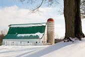 Winter Barn And Silo