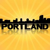 Portland skyline reflected with sunburst illustration