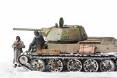 Постер, плакат: Miniature with old soviet t 34 tank