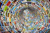 Постер, плакат: Tunnel of media images photographs Tv multimedia broadcast streaming All photos are mine Conc