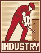 worker holding wrench - industry poster