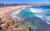 picture of sunburn  - Summer Beach Scene Along Ocean - JPG