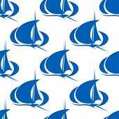 Blue yachts or sailboat seamless pattern