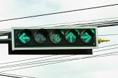 Traffic Light With Countdown System At Junction In Thailand