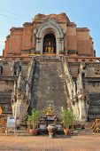 The step pyramid in which is the huge gold Buddha.  Grandiose ritual construction in Thailand.