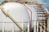 picture of lng  - Natural gas tank in oil refinery industry - JPG