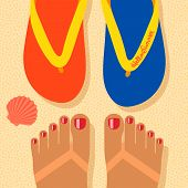 Hello summer - concept background, self shoot feet and flip-flop on the sand beach, selfie