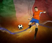 Abstract waves aroun soccer player