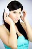 Gorgeous Woman Listening Music With Headphones Happy