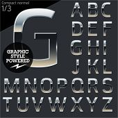 Silver chrome and aluminum vector alphabet set. Compact normal. File contains graphic styles available in  Illustrator