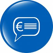 Web Icon Cloud With Euro Eur Sign, Web Button Isolated On White