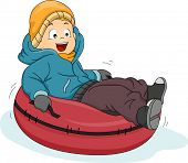 pic of snow-slide  - Illustration Featuring a Boy Riding a Snow Tube - JPG