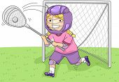 Illustration Featuring a Young Lacrosse Goalkeeper