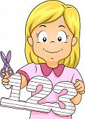 Illustration Featuring a Little Girl Holding a Cutout of Numbers