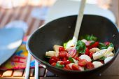 Fresh tomato and mozzarella salad in a bawl