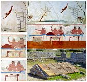Collage ancient Greek Fresco in Paestum Italy called the