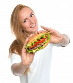 Fast Food Concept. Woman Show Tasty Unhealthy Burger Sandwich