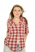 Woman Plaid Shirt Hair Blow Facing Shirt Partly Open