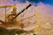 stock photo of open-pit mine  - Vintage retro effect filtered hipster style image of Industrial background  - JPG