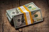 image of 100 dollars dollar bill american paper money cash stack  - Creative business finance making money concept  - JPG