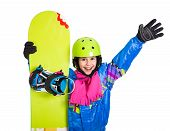 Happy girl with snowboard