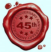 45th anniversary forty five year jubilee red wax seal stamp