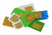 image of micro-sim  - A group of old and used Subscriber Identity Module  - JPG