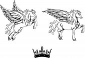 pegasus horse sticker tattoo set2