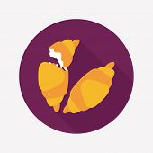 Croissants Flat Icon With Long Shadow,eps10