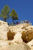 Visitors at the Sunrise Point at Bryce Canyon National Park in Utah