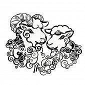 Ram and sheep, symbol of Year 2015