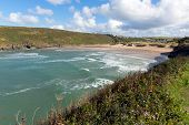 Cornish north coast cove Porthcothan Bay Cornwall England UK