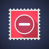 pic of subtraction  - Illustration of a mail stamp with a subtraction sign - JPG