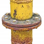 Weathered Old Aged Grunge Gas Pipe Connection Flange Isolated poster