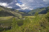 Mountain Valley Under The Evening Sun. Altai, Russia. Chuya River.