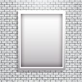 Metal Frame On Brick Wall Vector