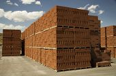 foto of cinder block  - Pallets of brick in a brick yard - JPG