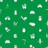 Farm Icons Green And White Seamless Pattern Eps10