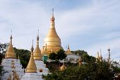 Shwe Kyat Yat Pagoda On The Hill Near Ayeyarwady River In Myanmar.