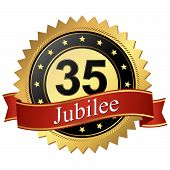 Jubilee Button With Banners - 35 Years