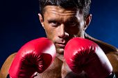 Close-up Portrait Of Boxer In Red Boxing Gloves