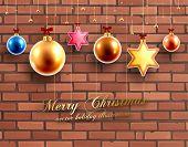 Christmas Balls and Stars. Xmas Decorations. Vector. Brick Wall Background.