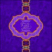 unusual violet colour floral ornamental template