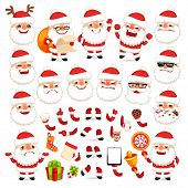 Set Of Cartoon Santa Claus For Your Christmas Design Or Animatio