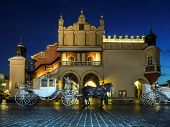 foto of carriage horse  - Horse carriage parked in front of Gothic Cloth Hall Sukiennice on the Main Market Square in Krakow by night - JPG
