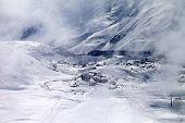 Top View On Ski Resort At Mist