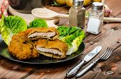 pic of wieners  - Wiener Schnitzel with mashed potato veal meal original and delicious - JPG